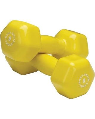Body Solid BSTVD9PR 9 lbs Vinyl Dumbell Yellow - Pair