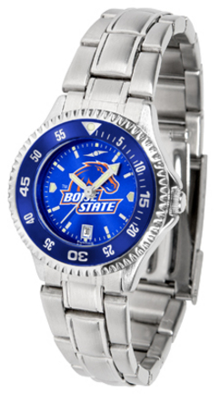 Boise State Broncos Competitor AnoChrome Ladies Watch with Steel Band and Colored Bezel