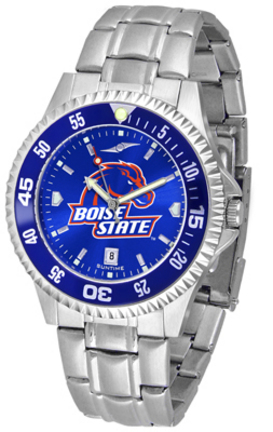 Boise State Broncos Competitor AnoChrome Men's Watch with Steel Band and Colored Bezel
