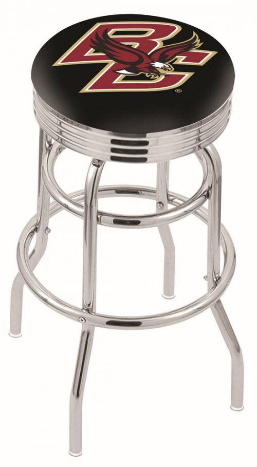 "Boston College Eagles (L7C3C) 30"" Tall Logo Bar Stool by Holland Bar Stool Company (with Double Ring Swivel Chrome Base)"