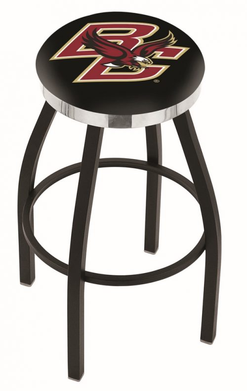 "Boston College Eagles (L8B2C) 25"" Tall Logo Bar Stool by Holland Bar Stool Company (with Single Ring Swivel Black Solid Welded Base)"