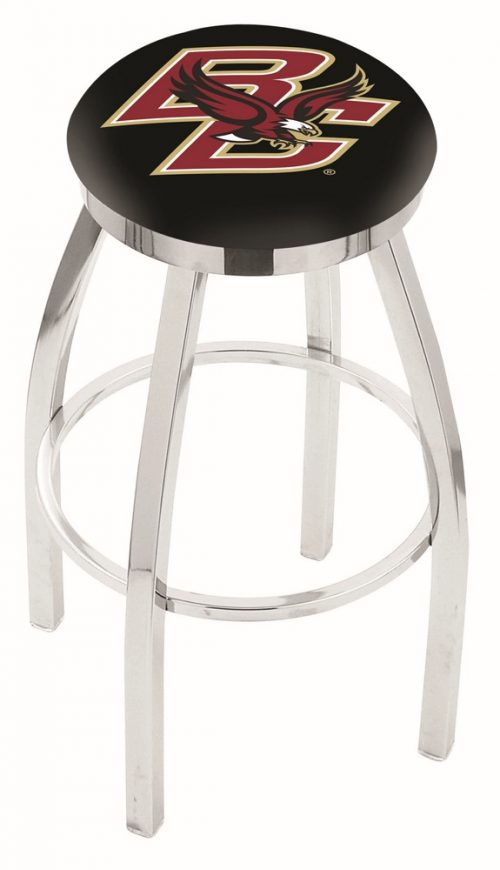 "Boston College Eagles (L8C2C) 30"" Tall Logo Bar Stool by Holland Bar Stool Company (with Single Ring Swivel Chrome Solid Welded Base)"