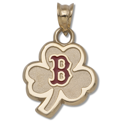 """Boston Red Sox 1/2"""" Clover with Enamel """"B"""" Logo Pendant - 10KT Gold Jewelry"""