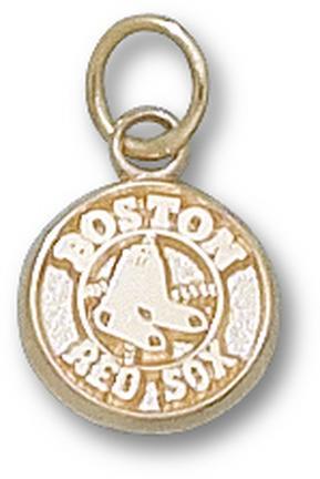 "Boston Red Sox 3/8"" Round Logo Charm - 10KT Gold Jewelry"