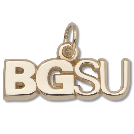 "Bowling Green State Falcons 1/4"" ""BGSU"" Charm - 10KT Gold Jewelry"