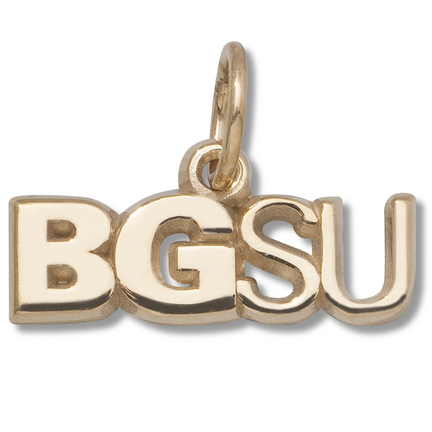 "Bowling Green State Falcons 3/16"" ""BGSU"" Charm - 14KT Gold Jewelry"
