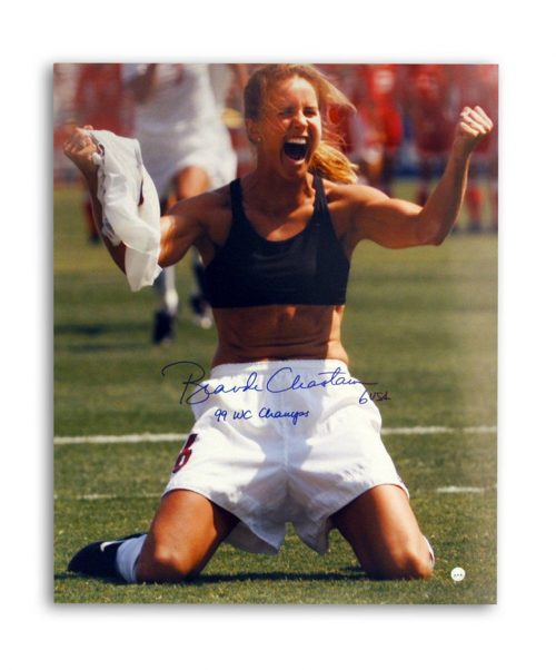 """Brandi Chastain Autographed Womens Team USA World Cup Soccer 16"""" x 20"""" Unframed Photograph Inscribed """"99 WC Champs"""" (Celebration)"""