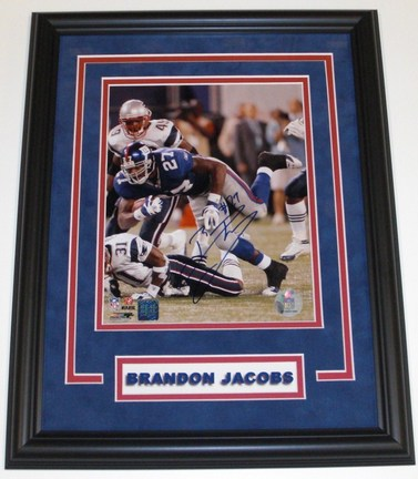 "Brandon Jacobs Autographed New York Giants 8"" x 10"" Custom Framed Photograph"