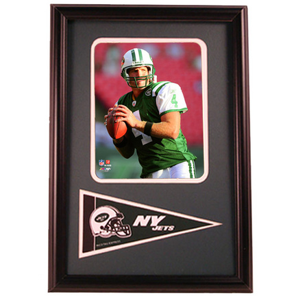 """Brett Favre New York Jets Photograph with Team Pennant in a 12"""" x 18"""" Deluxe Frame"""