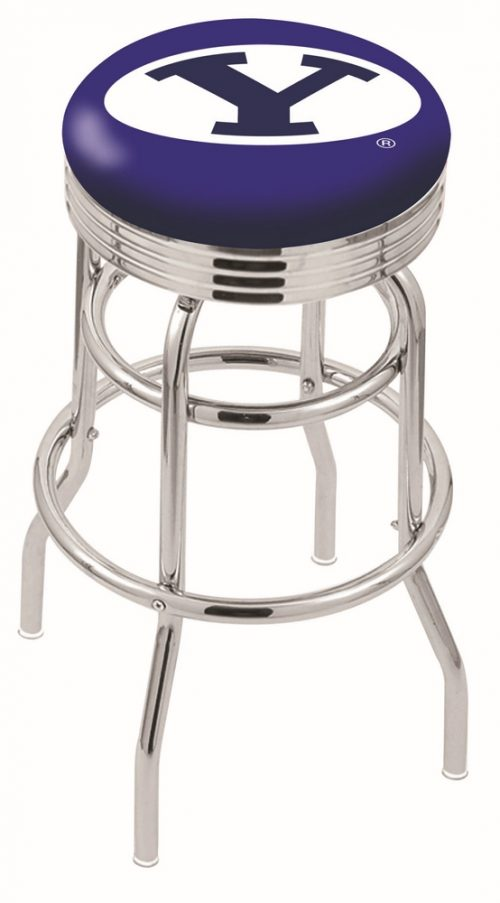 "Brigham Young (BYU) Cougars (L7C3C) 25"" Tall Logo Bar Stool by Holland Bar Stool Company (with Double Ring Swivel Chrome Base)"