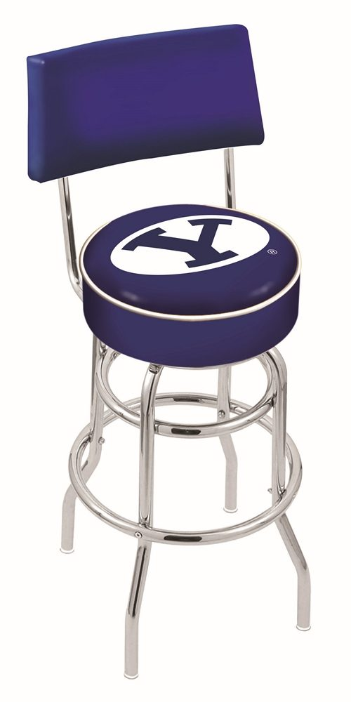 """Brigham Young (BYU) Cougars (L7C4) 30"""" Tall Logo Bar Stool by Holland Bar Stool Company (with Double Ring Swivel Chrome Base and Chair Seat Back)"""