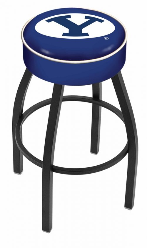 "Brigham Young (BYU) Cougars (L8B1) 25"" Tall Logo Bar Stool by Holland Bar Stool Company (with Single Ring Swivel Black Solid Welded Base)"