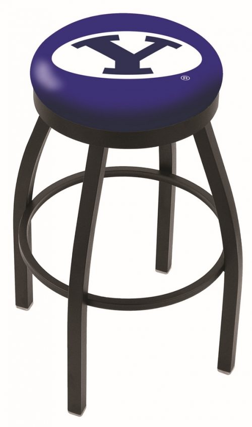 "Brigham Young (BYU) Cougars (L8B2B) 30"" Tall Logo Bar Stool by Holland Bar Stool Company (with Single Ring Swivel Black Solid Welded Base)"