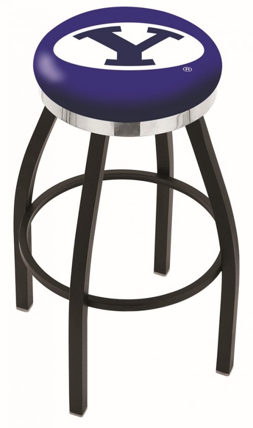 "Brigham Young (BYU) Cougars (L8B2C) 30"" Tall Logo Bar Stool by Holland Bar Stool Company (with Single Ring Swivel Black Solid Welded Base)"