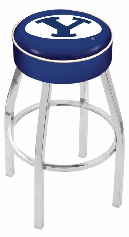 """Brigham Young (BYU) Cougars (L8C1) 25"""" Tall Logo Bar Stool by Holland Bar Stool Company (with Single Ring Swivel Chrome Solid Welded Base)"""