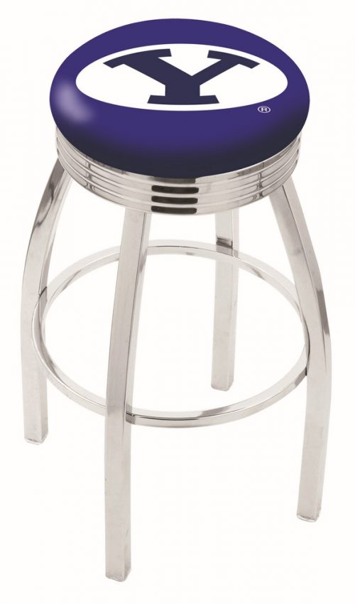 "Brigham Young (BYU) Cougars (L8C3C) 25"" Tall Logo Bar Stool by Holland Bar Stool Company (with Single Ring Swivel Chrome Solid Welded Base)"