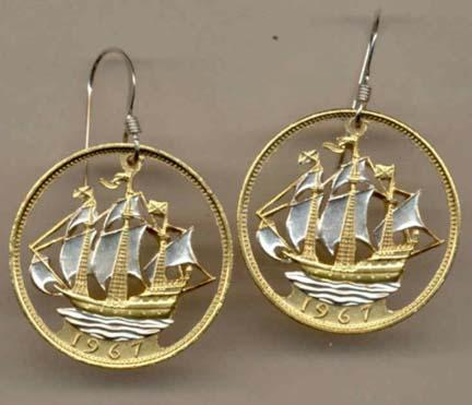 British Penny Two Toned Coin Cut Out Earrings