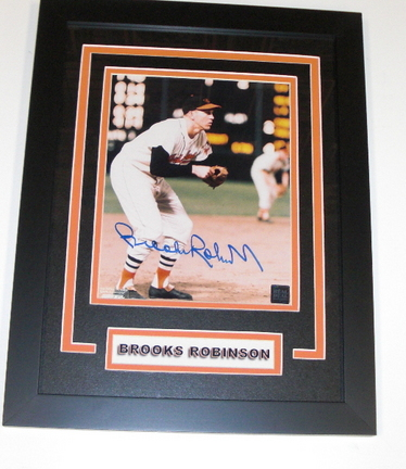 "Brooks Robinson Autographed Baltimore Orioles 8"" x 10"" Photograph 1983 Hall of Fame Custom Framed"