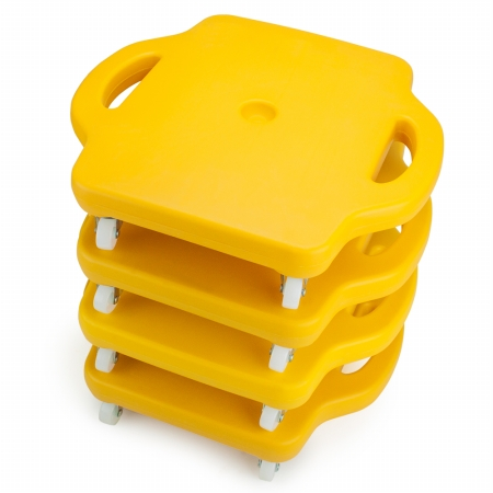 Brybelly Holdings SGYM-203 4 4pack 16in Gym Class Scooter Board with Safety Handles - Yellow