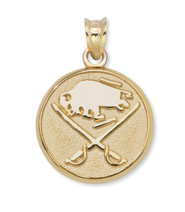 """Buffalo Sabres Buffalo and Crossed Swords 3/8"""" Round Logo Pendant - 10KT Gold Jewelry"""