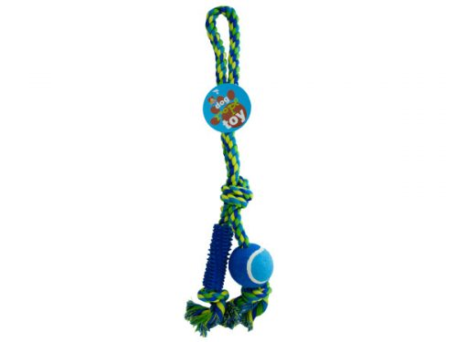 Bulk Buys OC433-4 Dog Rope Toy With Ball and Rubber Spikes