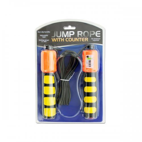 Bulk Buys OF360 Jump Rope with Counter & Non-slip Handles - Black Yellow Blue Orange