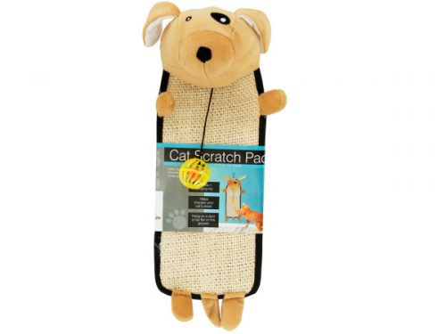 Bulk Buys OF801-4 Plush Dog Shaped Cat Scratch Pad with Dangle Toy