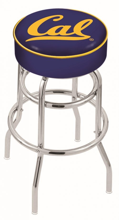 "California (UC Berkeley) Golden Bears (L7C1) 25"" Tall Logo Bar Stool by Holland Bar Stool Company (with Double Ring Swivel Chrome Base)"