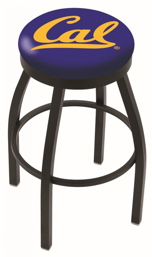 "California (UC Berkeley) Golden Bears (L8B2B) 25"" Tall Logo Bar Stool by Holland Bar Stool Company (with Single Ring Swivel Black Solid Welded Base)"