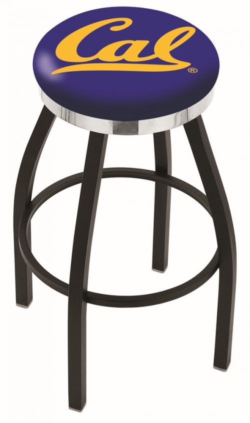 "California (UC Berkeley) Golden Bears (L8B2C) 30"" Tall Logo Bar Stool by Holland Bar Stool Company (with Single Ring Swivel Black Solid Welded Base)"