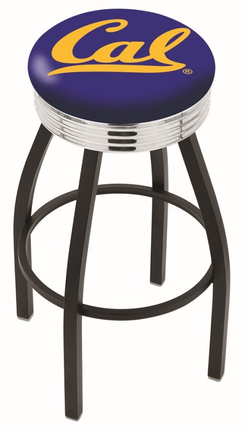 "California (UC Berkeley) Golden Bears (L8B3C) 25"" Tall Logo Bar Stool by Holland Bar Stool Company (with Single Ring Swivel Black Solid Welded Base)"