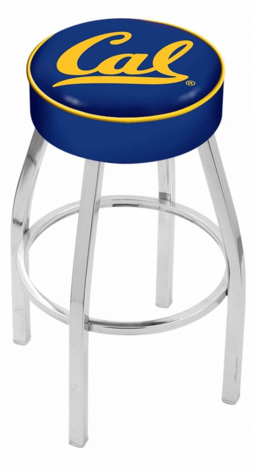 "California (UC Berkeley) Golden Bears (L8C1) 25"" Tall Logo Bar Stool by Holland Bar Stool Company (with Single Ring Swivel Chrome Solid Welded Base)"