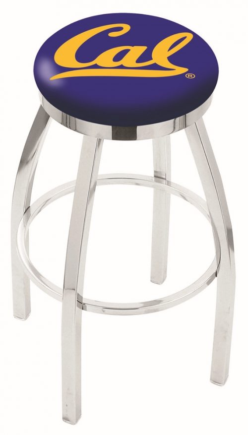 "California (UC Berkeley) Golden Bears (L8C2C) 30"" Tall Logo Bar Stool by Holland Bar Stool Company (with Single Ring Swivel Chrome Solid Welded Base)"