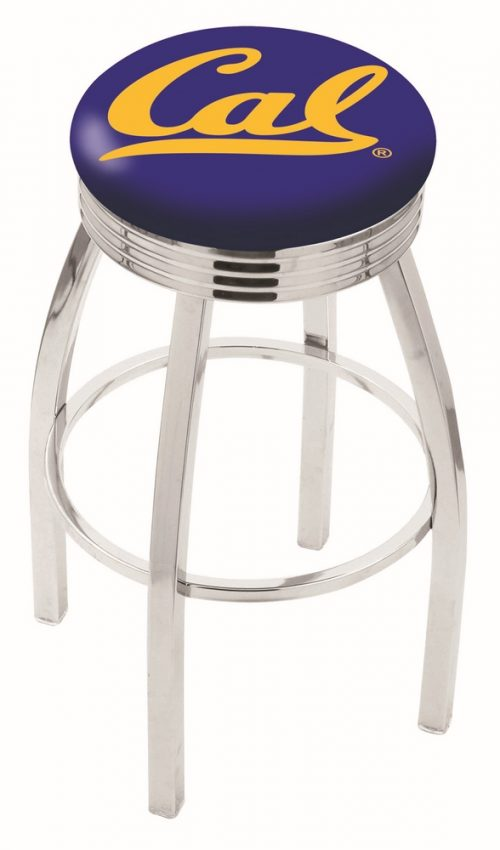 "California (UC Berkeley) Golden Bears (L8C3C) 30"" Tall Logo Bar Stool by Holland Bar Stool Company (with Single Ring Swivel Chrome Solid Welded Base)"