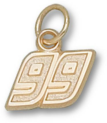 """Carl Edwards Small Driver Number """"99"""" 5/16"""" Charm - 14KT Gold Jewelry"""