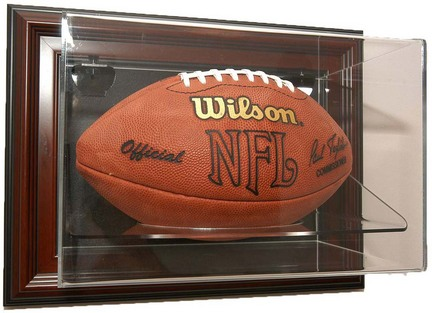 "Case-Up"" Single Football Display Case with Mahogany Frame"