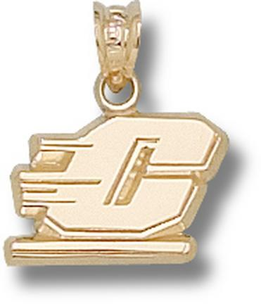 """Central Michigan Chippewas 3/8"""" Motion """"C"""" Pendant - 10KT Gold Jewelry"""