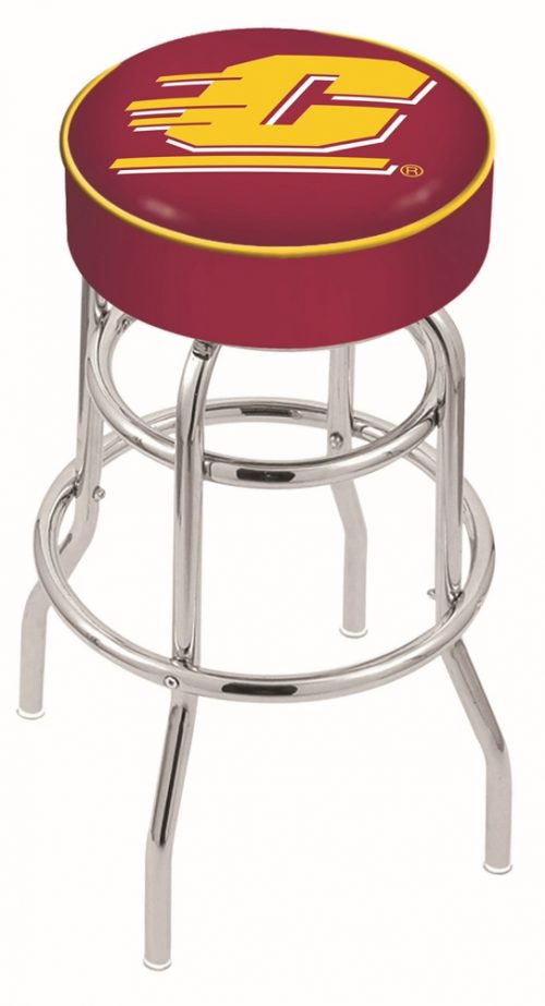 """Central Michigan Chippewas (L7C1) 25"""" Tall Logo Bar Stool by Holland Bar Stool Company (with Double Ring Swivel Chrome Base)"""
