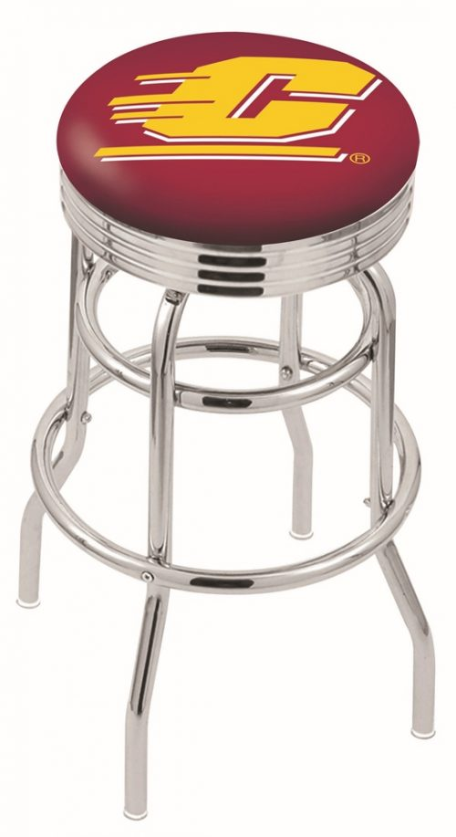 """Central Michigan Chippewas (L7C3C) 25"""" Tall Logo Bar Stool by Holland Bar Stool Company (with Double Ring Swivel Chrome Base)"""