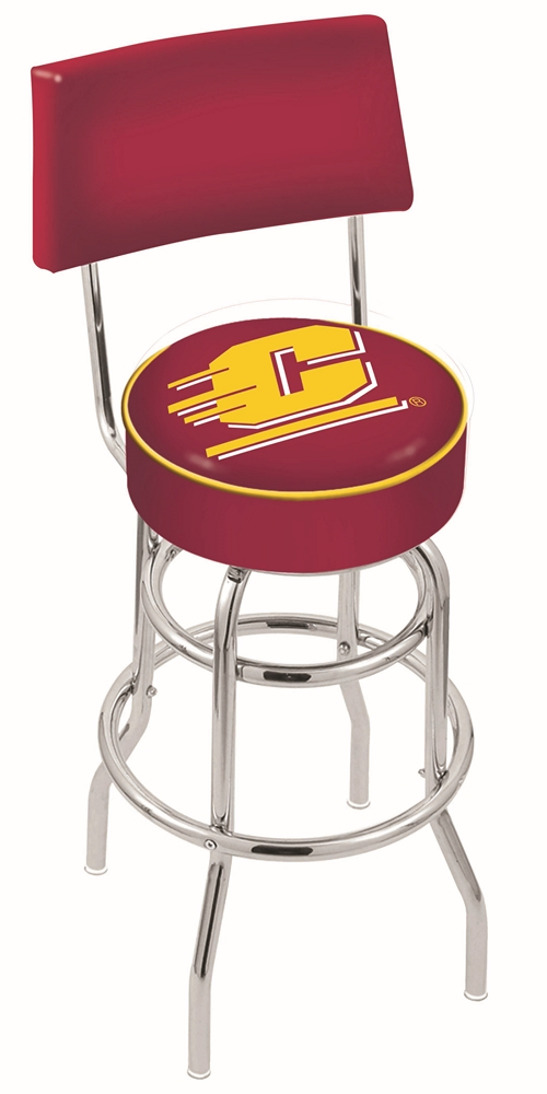 """Central Michigan Chippewas (L7C4) 25"""" Tall Logo Bar Stool by Holland Bar Stool Company (with Double Ring Swivel Chrome Base and Chair Seat Back)"""