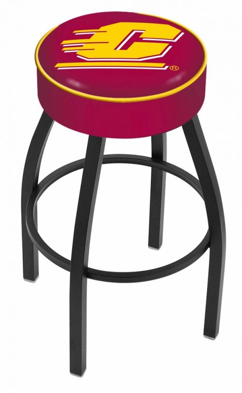"Central Michigan Chippewas (L8B1) 25"" Tall Logo Bar Stool by Holland Bar Stool Company (with Single Ring Swivel Black Solid Welded Base)"