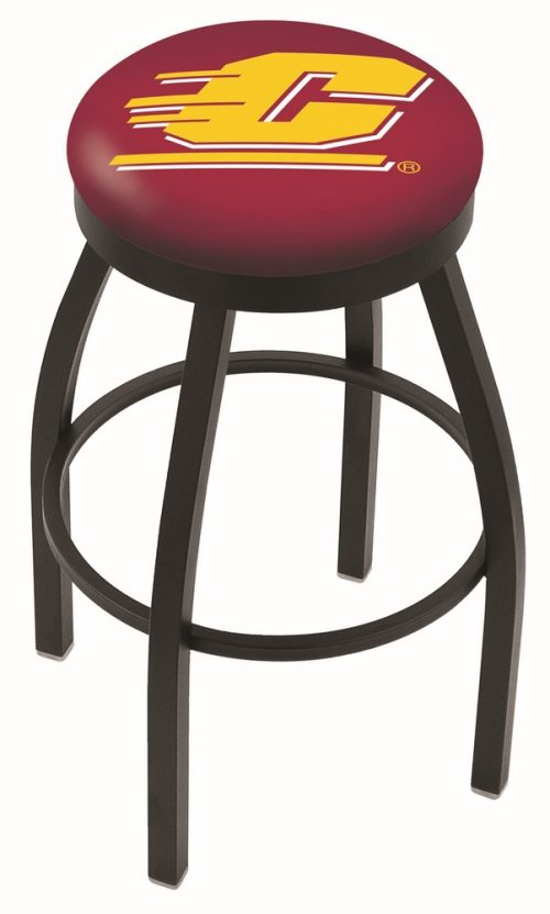 "Central Michigan Chippewas (L8B2B) 25"" Tall Logo Bar Stool by Holland Bar Stool Company (with Single Ring Swivel Black Solid Welded Base)"