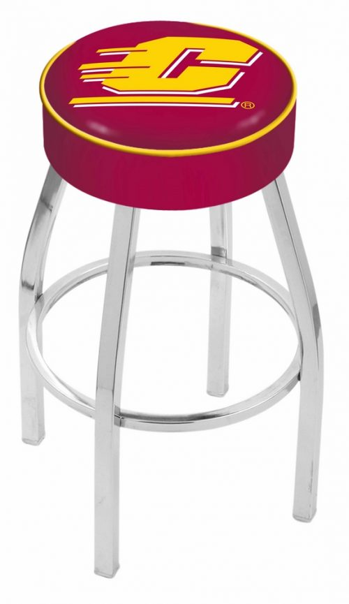 "Central Michigan Chippewas (L8C1) 25"" Tall Logo Bar Stool by Holland Bar Stool Company (with Single Ring Swivel Chrome Solid Welded Base)"