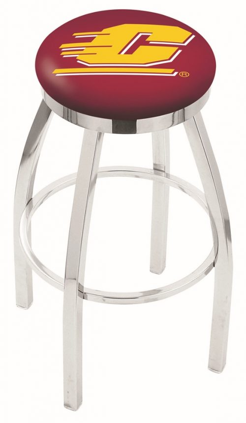 "Central Michigan Chippewas (L8C2C) 25"" Tall Logo Bar Stool by Holland Bar Stool Company (with Single Ring Swivel Chrome Solid Welded Base)"