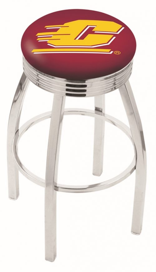 """Central Michigan Chippewas (L8C3C) 25"""" Tall Logo Bar Stool by Holland Bar Stool Company (with Single Ring Swivel Chrome Solid Welded Base)"""