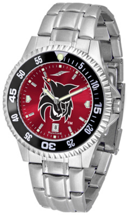 Central Washington Wildcats Competitor AnoChrome Men's Watch with Steel Band and Colored Bezel