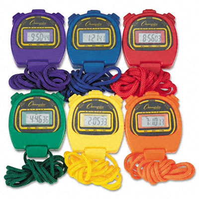 Champion Sport 910SET Water-Resistant Stopwatches 1/100 Second Assorted Colors 6 Per Set