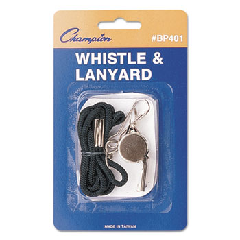 Champion Sport BP401 Sports Whistle with Black Nylon Lanyard Metal Silver