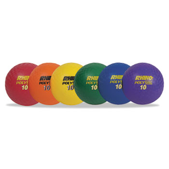 Champion Sport PX10SET Rhino Playground Ball Set 10 Diameter Rubber Assorted 6 Balls/Set