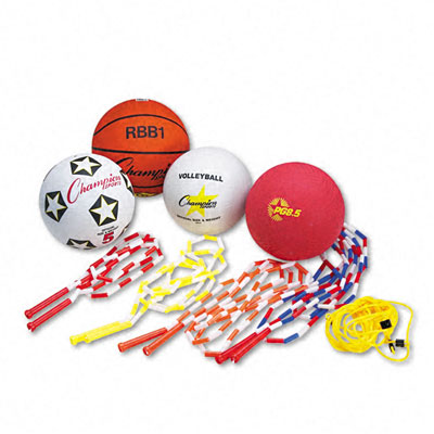 Champion Sport UPGSET2 Physical Education Kit with Seven Balls 14 Jump Ropes Assorted Colors